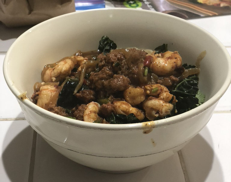 Chiboi's Chorizo, Shrimp and Grits with Kale – for two